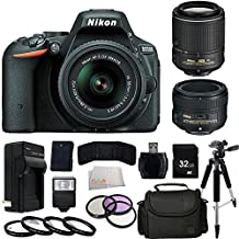 Nikon D5500 DX-format Digital SLR - International Version (No Warranty) w/ 18-55mm VR II Kit (Black) + 50mm f/1.8G AF-S NIKKOR FX Lens + AF-S DX NIKKOR 55-200MM f/4-5.6G ED VR II Lens + 3 Piece Flter Kit (UV-CPL-FLD) + 4 Piece Macro Filter Kit (+1,+2,+4,+10) + More