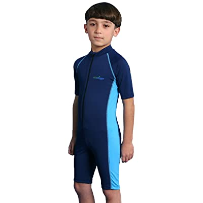 Boys One Piece Sunsuit UV Protection Swimsuit Chlorine Resistant UPF50+ Navy Blue