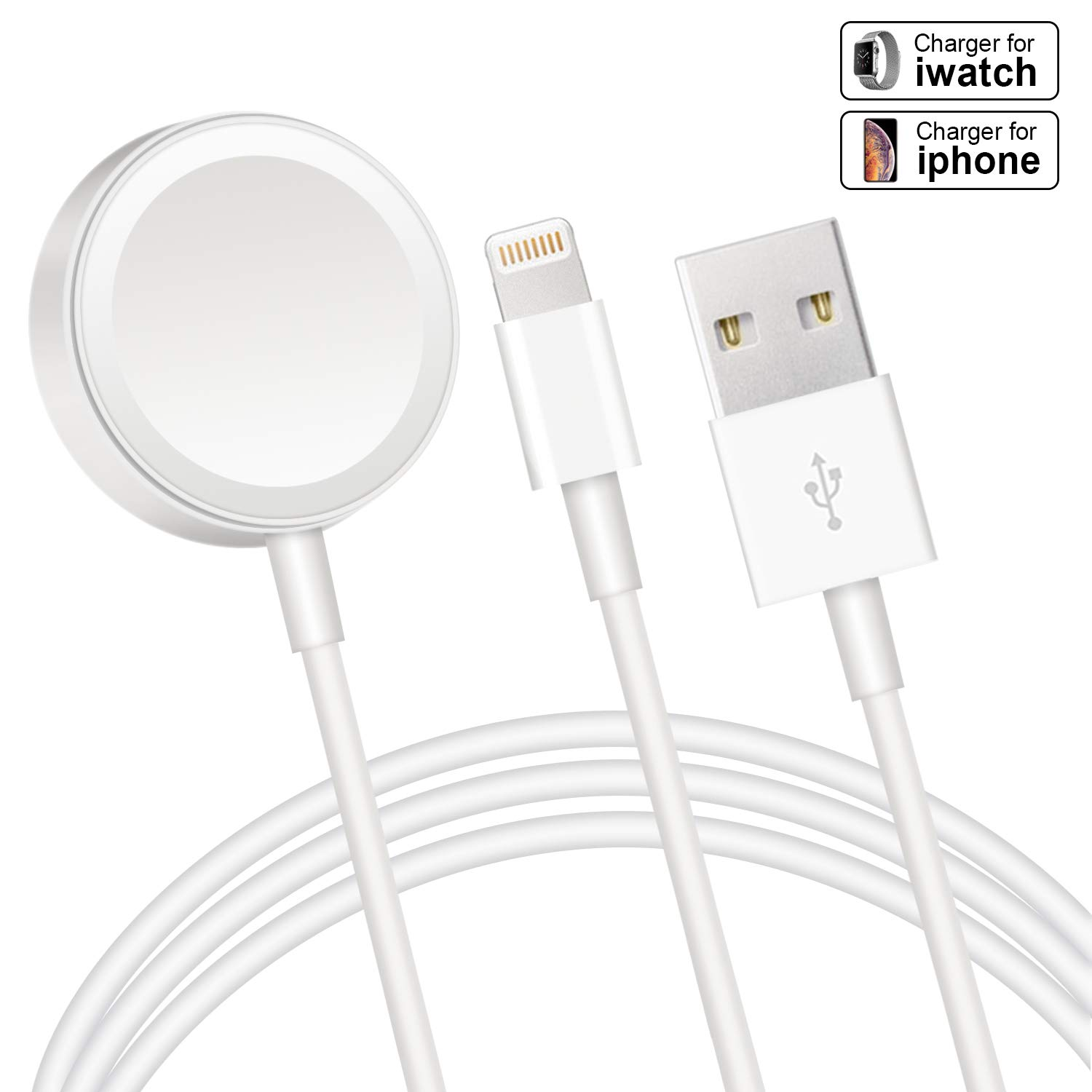 Compatible with Apple Watch iWatch Charger, Wireless Charger 2 in 1 Charging Cable Compatible with for Apple Watch Series 4/3/2/1 and iPhone XR/XS/XS Max/X/8/8Plus/7/7Plus/6/6Plus by WowTowel