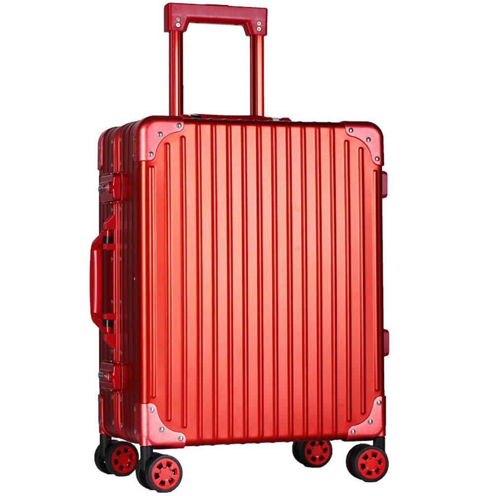 スーツケースファッションレトロ軽量水証拠強い反落下圧力キャリーケース材料のアルミマグネシウム合金 B07Q9852QN レッド 26インチ