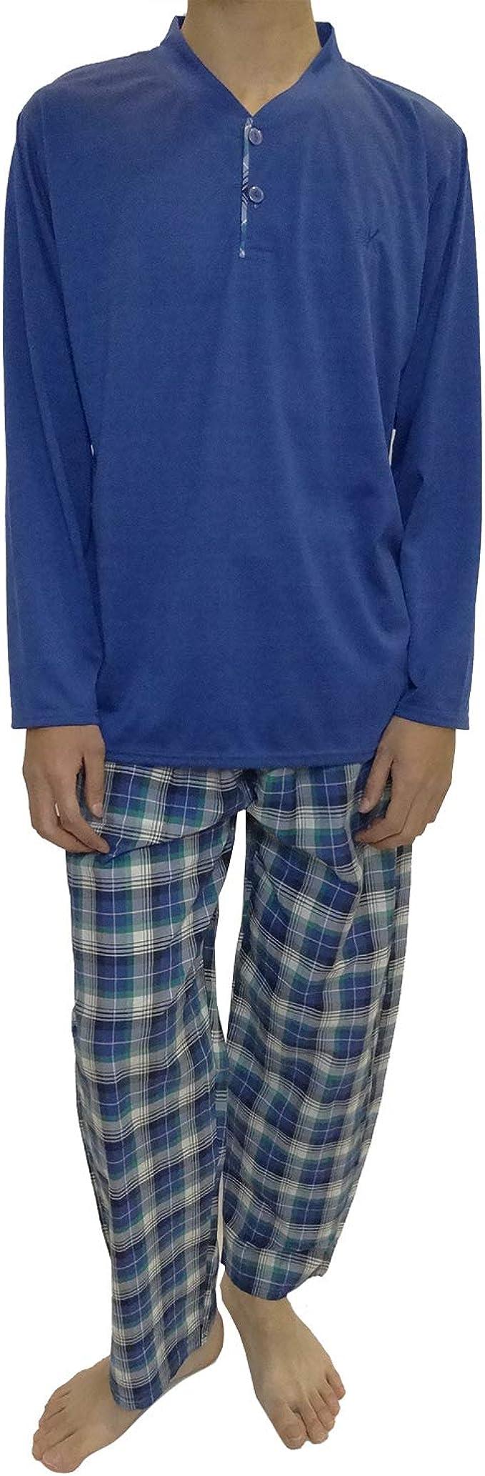 Mini kitten - Pijama de Caballero Hombre de Algodon Fino Manga Larga con Pantalon 100% Algodon/Ropa para Dormir de Hombre: Amazon.es: Ropa y accesorios