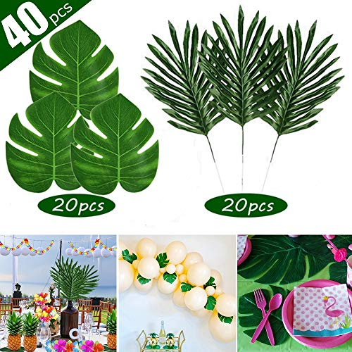 FEPITO 40 PCS Artificial Tropical Leaves Green Palm Monstera Leaves for Luau Hawaiian Party Decorations, Artificial Faux Coconut Palm Leaves for Safari Jungle Beach Tropical Party Decorations - Artificial Coconut