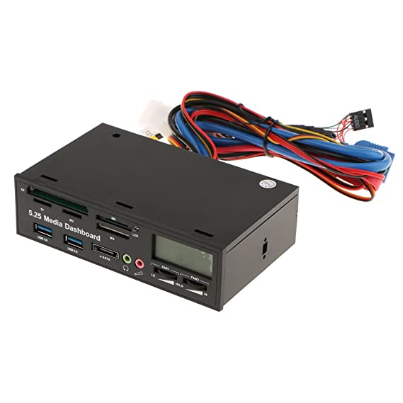 Segolike 5.25'' Computer Multi-functional Dashboard Media Front Panel with eSATA USB 3.0 Hub, Audio Ports and Card Reader (SCF/TF/M2/SD/XD/MS/MMC) External Memory Card Readers at amazon