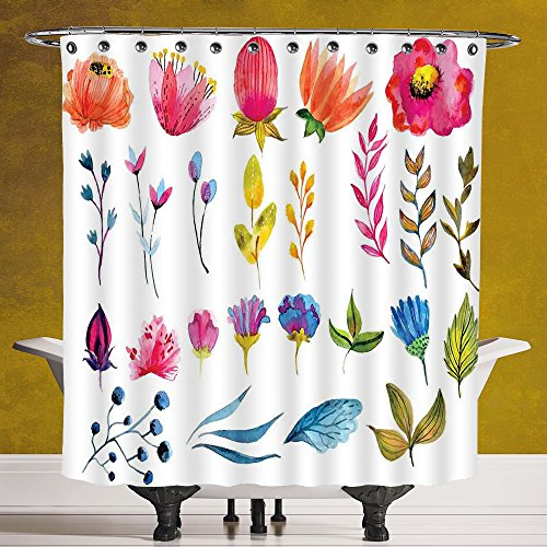 Fun Shower Curtain 3.0 by SCOCICI [ Flower Decor,Watercolored Decor Flowers Tulips Roses Colored Leaves Garden Design Print,Multicolor ] Fabric Shower - Hut Coloured Contact