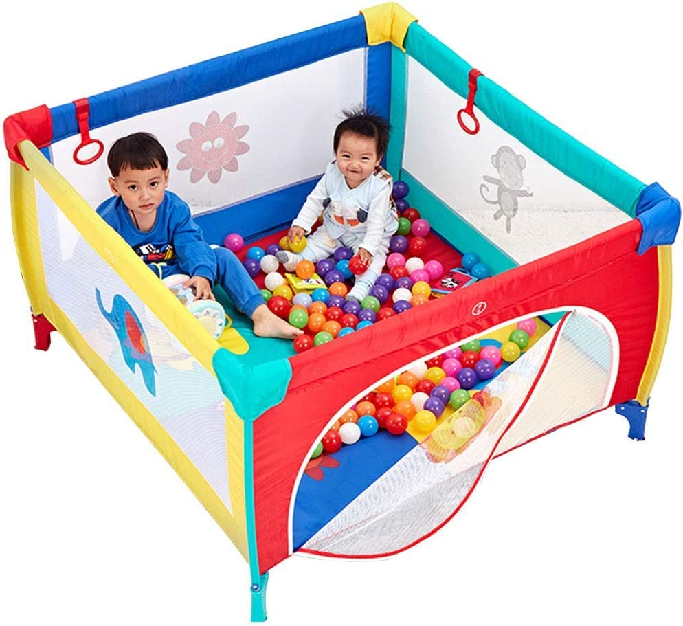 JFFFFWI Baby Toys Kids Activity Centre Foldable Playpen Portable Indoor and Outdoor Infant Playpen Lightweight Household Protective Crawling Fence with Cushion,Height:65.5cm (Size:120x120 cm) Safety