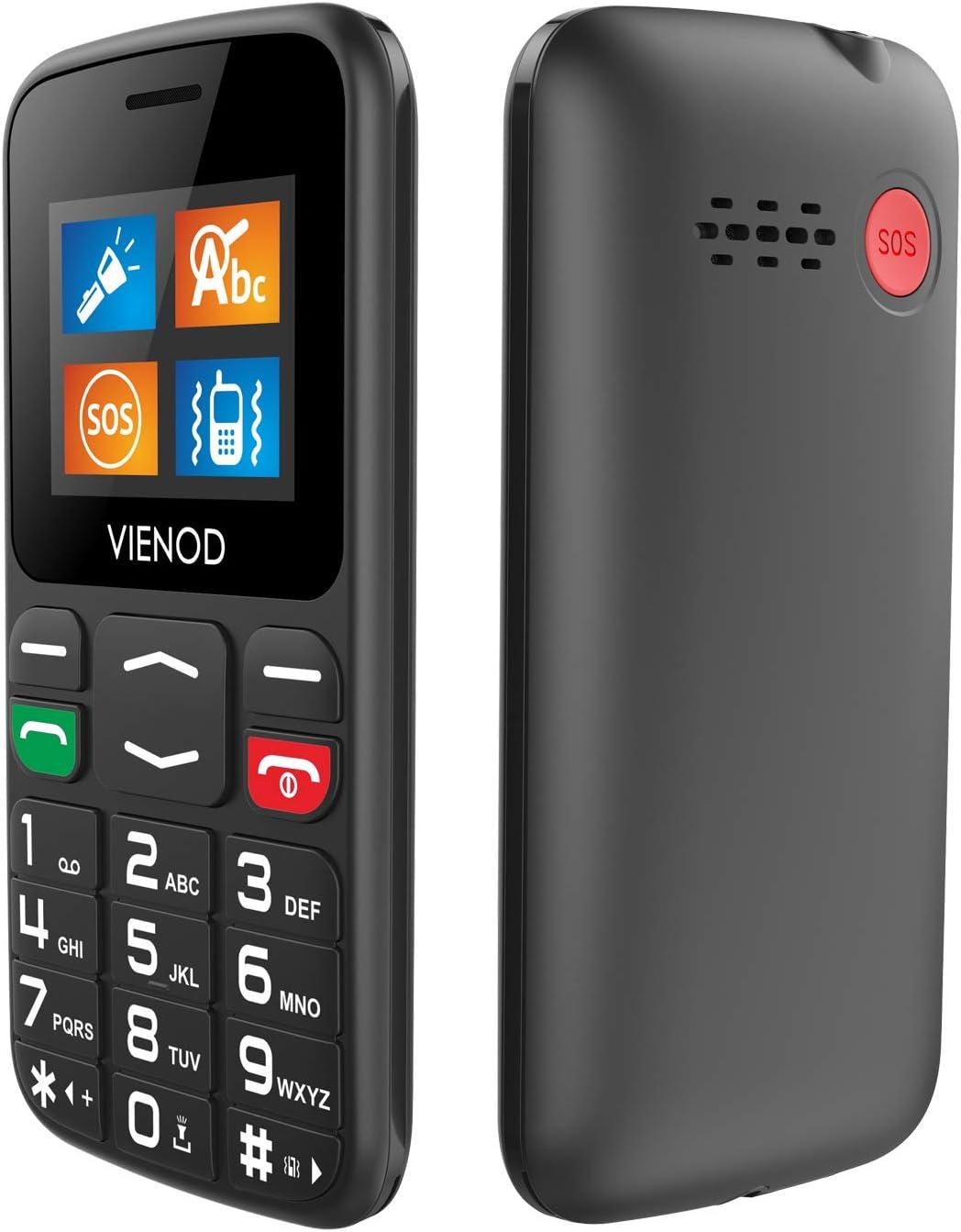 VIENOD V105 gsm Teléfonos Móviles para Personas Mayores con Teclas Grandes, Fáciles De Usar Móviles para Ancianos, Botón SOS, Altavoz, Marcado Rápido - Negro