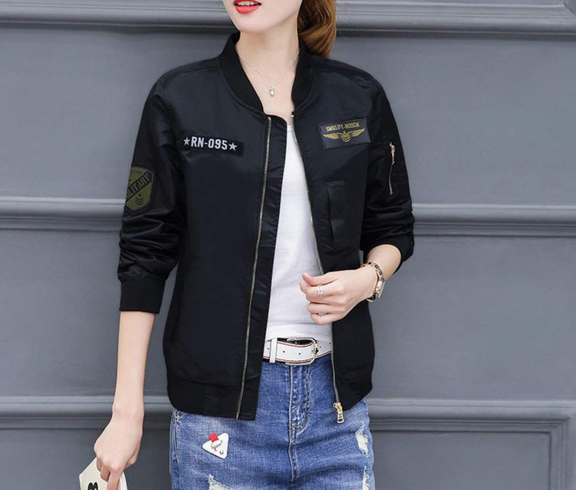 Black Spring and Autumn Women's Jacket Baseball Jacket Warm Jacket SEDD