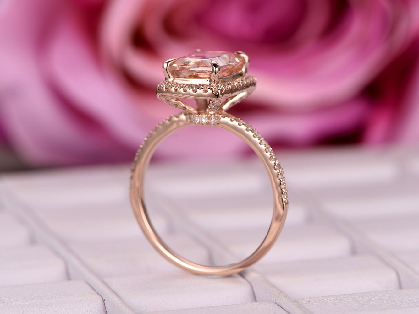 Amazon.com: Cushion Morganite Engagement Ring Pave Diamond Wedding ...