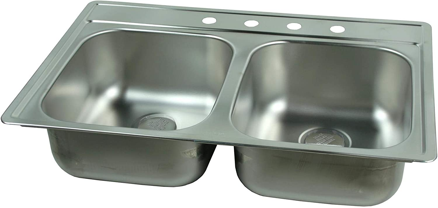 Franke Kindred 1634-1059 Kindred FDS804N 22 x 33 x 8 Stainless Steel Drop-In Double Bowl Sink – Satin Finish 4 Faucet Holes