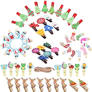 Haiabei 62 Pcs Christmas Sock Clips Wooden Tree Elk Snowman Clips Bear Butterfly Bee Message Board Tag Signs with Pegs&Line for Memo,Note Taking,Food Label,Wedding Table Number Place Card,Party Decor