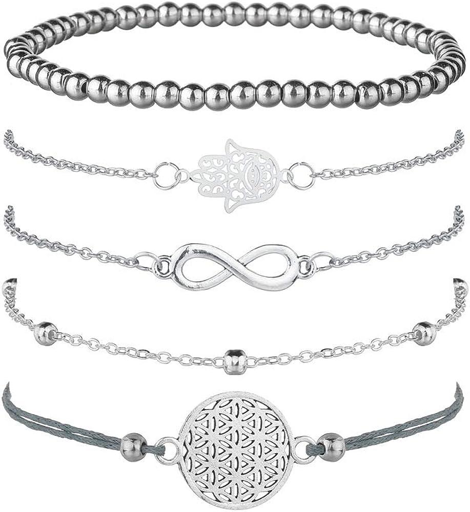 Juego de 5 pulseras de plata para mujer, con símbolo de infinito, pulsera de bolas, pulsera de cuerda con adorno, bohemias y ajustables