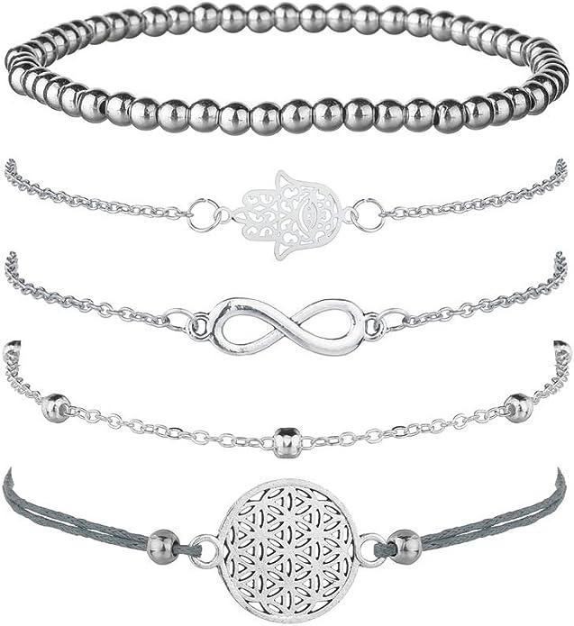 Juego de 5 pulseras de plata para mujer, con símbolo de infinito ...