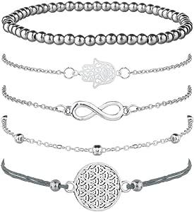 Juego de 5 pulseras de plata para mujer, con símbolo de infinito, pulsera de bolas, pulsera de cuerda con adorno, bohemias y ajustables: Amazon.es: Joyería