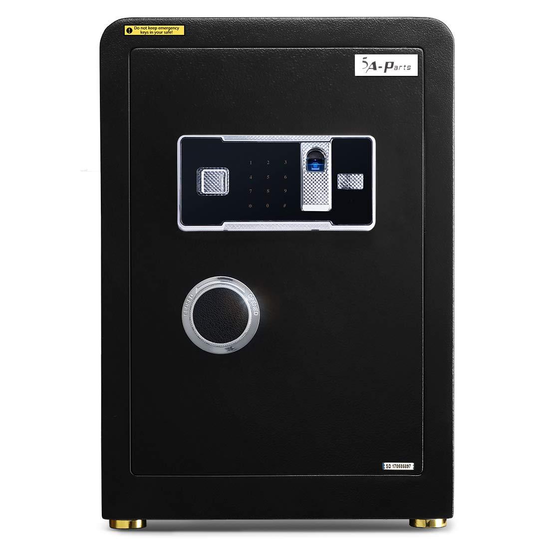 Ainfox Digital Security Safe Box, 2 Cubic FeetCabinets Fingerprint Biometric Wall Safe Lock Box Cash Strongbox with Number Keys Emergency Lock
