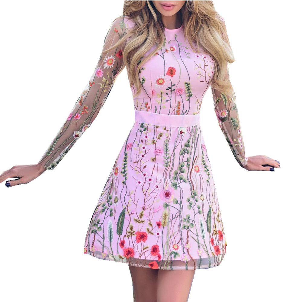 Women's A-Line Short Skirts Fashion Floral Embroidered Party Dress Lace Mesh Double Layer Mini Dress (M, Pink)