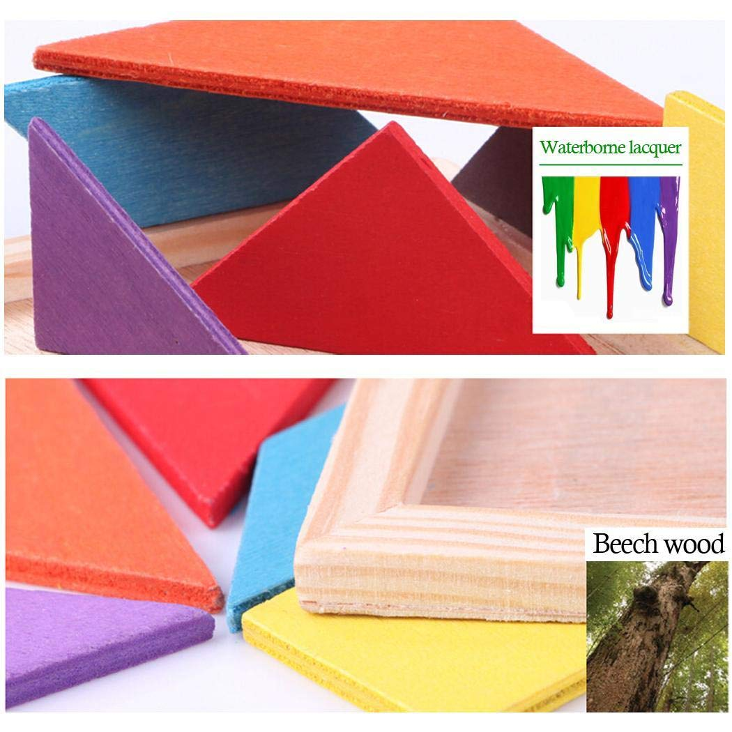 yagot Kinder Holz Puzzle Spielzeug Multicolor Tangram Früherziehung Spielzeug Kinder Tragbares Lernspielzeug