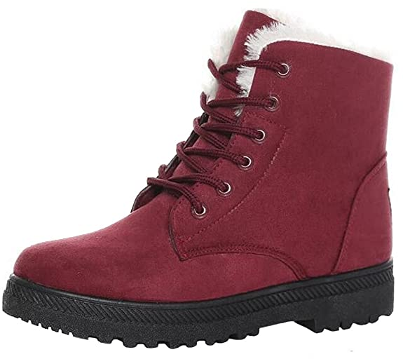 DADAWEN Women's Lace-up Warm Middle Ankle Snow Boots: Amazon.co.uk: Shoes &  Bags