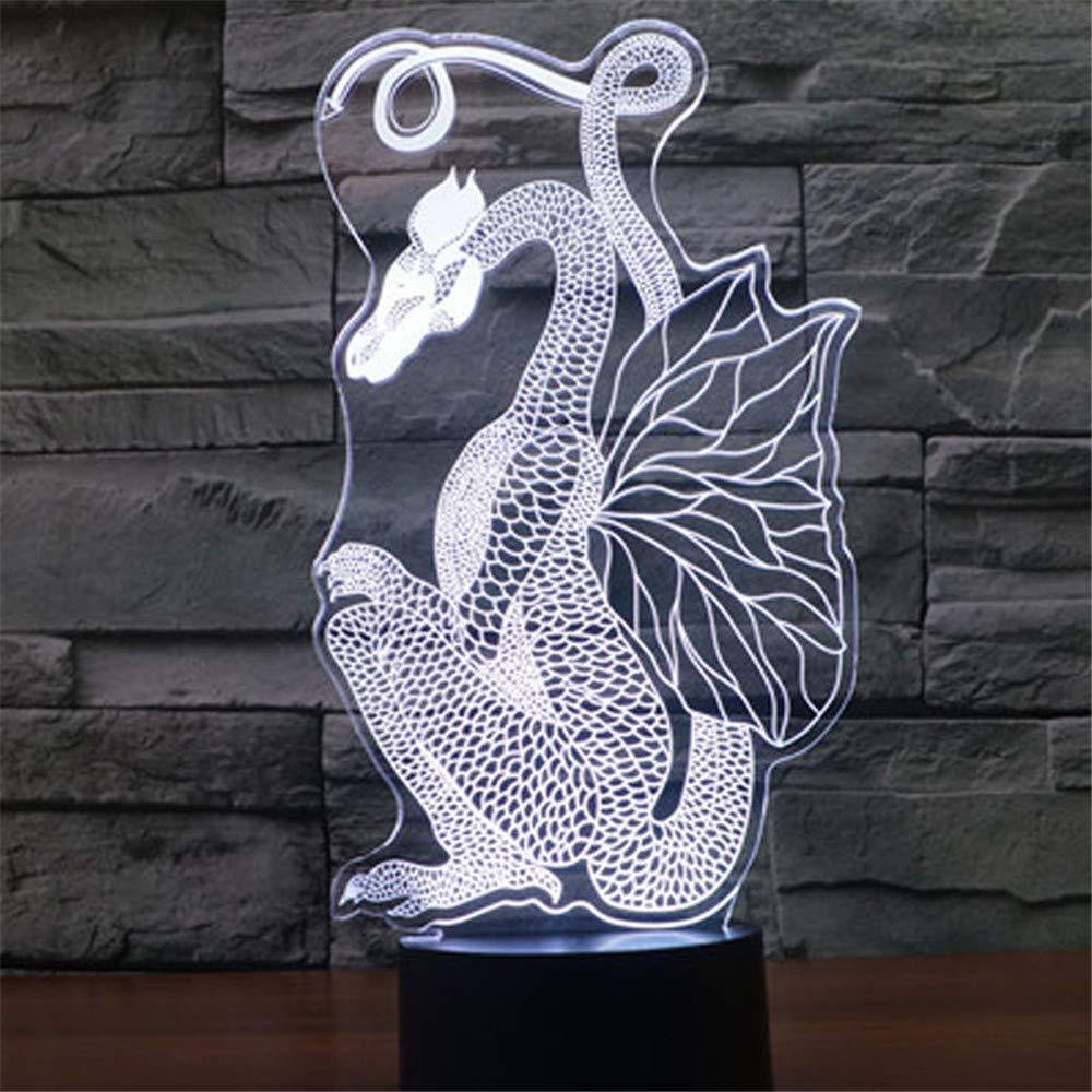 Las luces de la noche de 3D LED LED LED cortan el dinosaurio del dragón con 7 colores para la exhibición óptica de la lámpara asombrosa de la decoración casera 952695