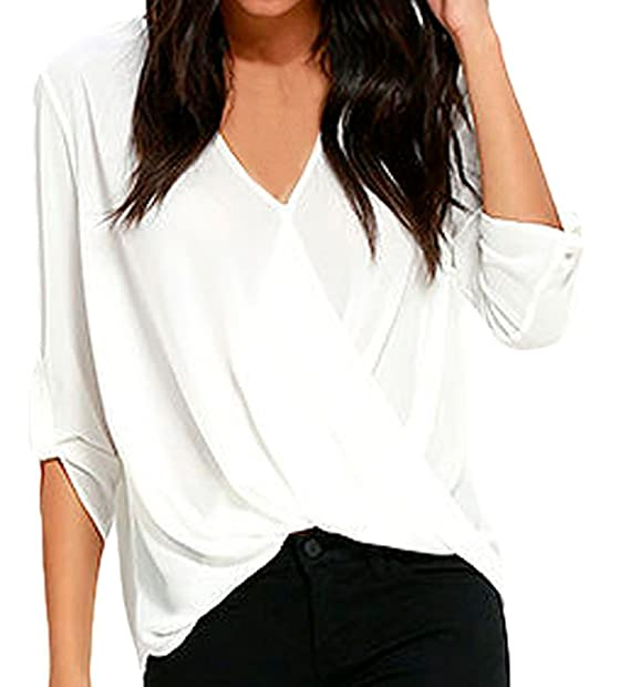 33f20a77a4a Shawhuwa Womens Sexy Chiffon V Neck Ruffle Loose Fit Blouse Top Shirts  (X-Small