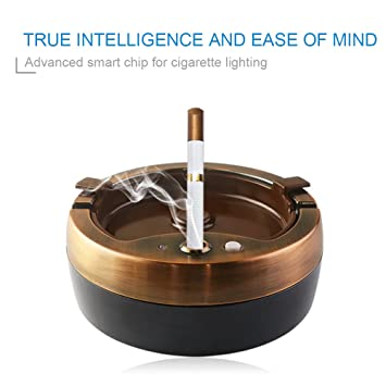 Tanbaby Automatically Metal Cigar Ashtray Large, Smart Ashtray, Ashtrays  For Cigarettes, Outdoor Ashtray