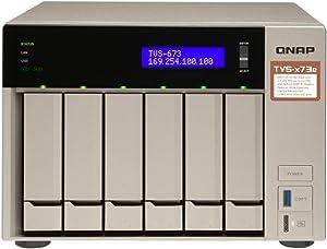 QNAP TVS-673e-4G-US 6-bay NAS/iSCSI IP-SAN, AMD R series Quad-core 2.1GHz, 4GB RAM, 10G-ready, 6 Bay, 4GB, With HDMI, AMD