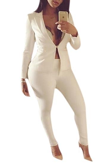 La Mujer Casual Cuello Blazer Strechy Ankle Pant 2 Piezas Traje Trajes De Vestir