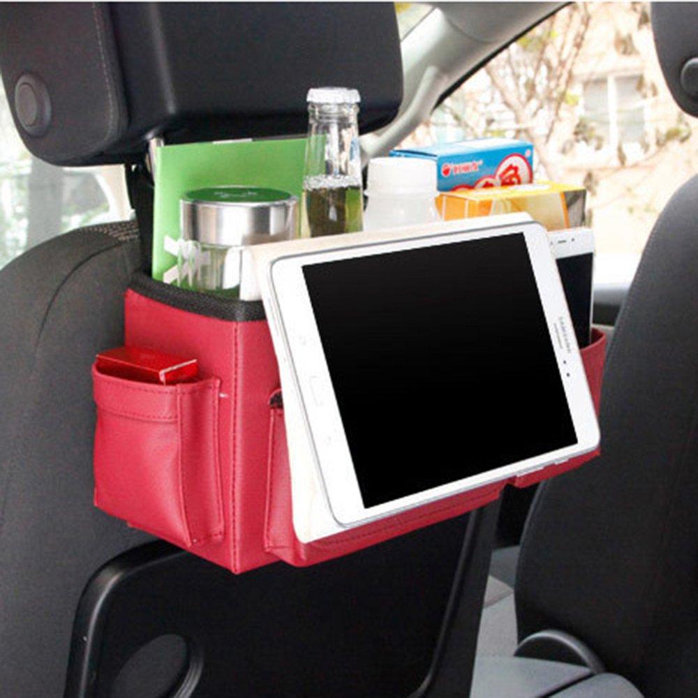 inebiz Luxus Leder Autositz R/ückseite Organizer Gro/ßes Fassungsverm/ögen Kopfst/ütze Aufh/ängen Aufbewahrungsbox