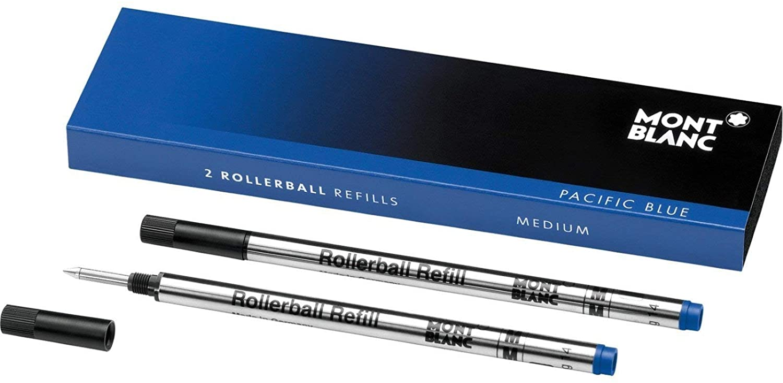 MONTBLANC Rollerball Refills (M) Pacific Blue 105159 / Quick-Drying Pen Refills for MONTBLANC Rollerball and Fineliner Pens / 2 x Dark Blue Pen Cartridges