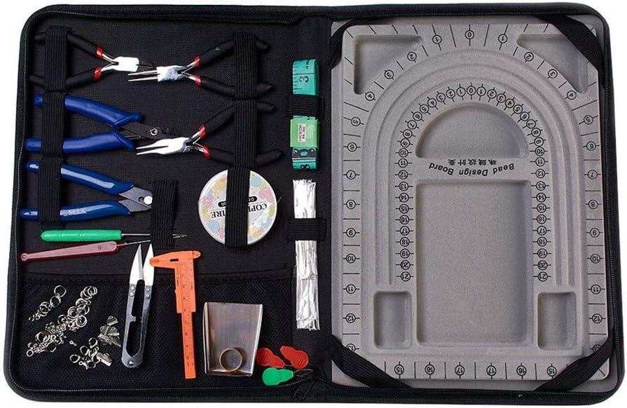 ジュエリーメイキングツールキット DIYビーズデザインサプライキット ジュエリーアクセサリーセット ネックレス ハンドメイド プライヤー クリスタルライン デザインプレート 収納バッグ付き