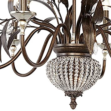 Uttermost 21094 Cristal de Lisbon 9 2-Light Chandelier, Brown