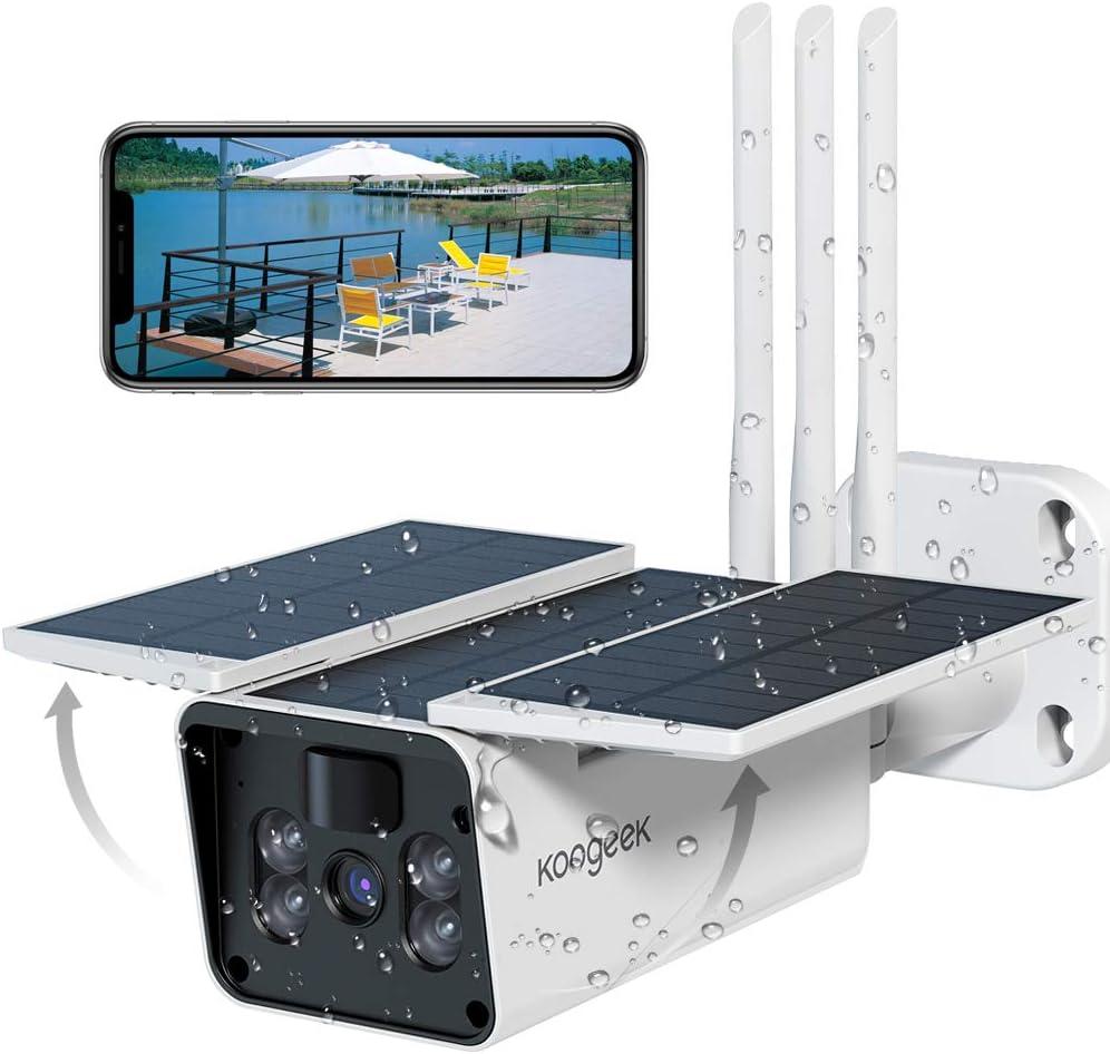 Koogeek Camara Vigilancia WiFi Exterior IP67,Camara de Vigilancia Exterior 1080P,Visión Nocturna Infrarroja,2 Audio,Detección de Movimiento,Alarma en ...