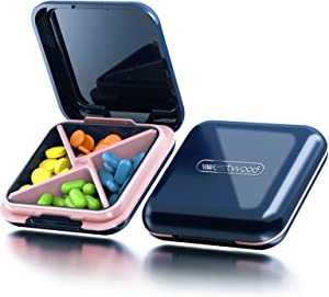 Pill Organizer, Acedada Portable Pill Box - Waterproof Pretty Daily Pill Case, BPA Free Pill Container for Vitamins, Fish Oils, Supplements, Ideal for Travel, Gym, Office, Pregnancy   Blue