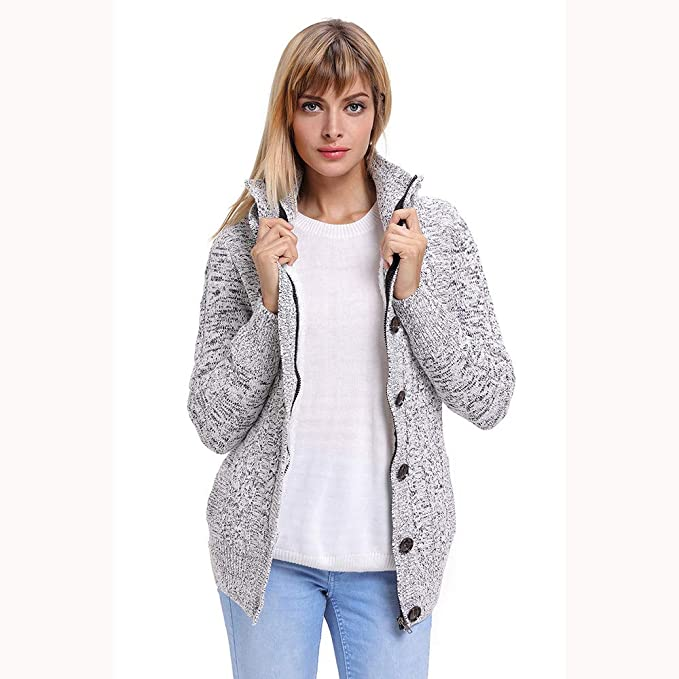 Amazon.com: KFSO Womens Hooded Cardigans Button Up Cable ...