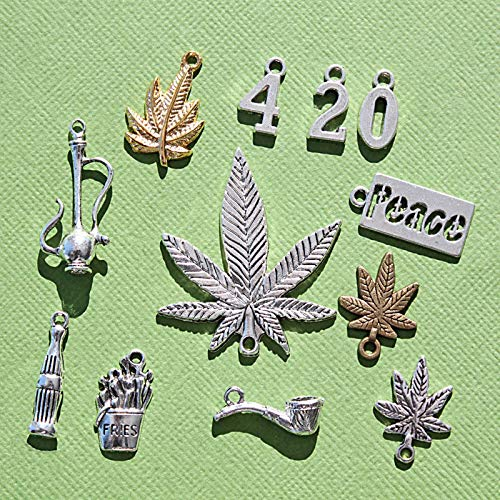 (Marijuana 4:20 Charm Collection Antique Silver Gold Tone 12 Charms for Jewelry Making Bracelet Necklace DIY Crafts)