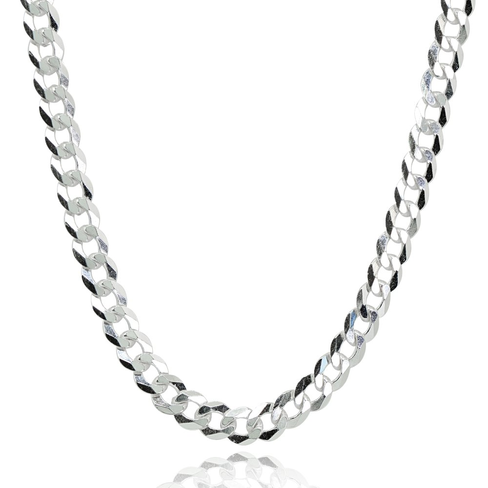 Sterling Silver Italian 4mm Diamond-Cut Cuban Curb Link Chain Necklace, 20 Inches by Hoops & Loops (Image #1)