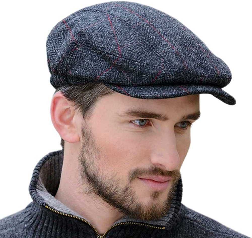 Wool Flat Cap Made in Ireland Traditional Style Gray