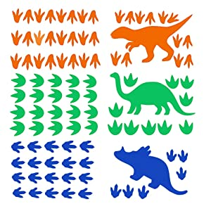 Dinosaur Wall Decal, Wall Decals for Boys & Girls Bedroom Kids Room Decor for Boys Footprints&Tracks Wall Stickers