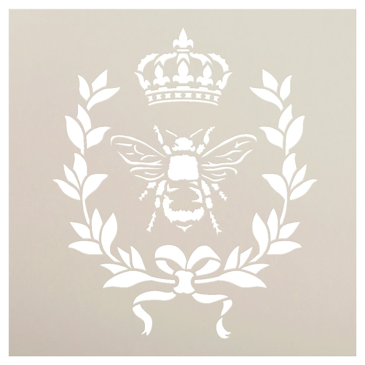 French Bee Stencil by StudioR12   Crown, Laurel Wreath, Bee, French Country - Use with Chalky Paint for Furniture, Farmhouse & Home Wall Decor   STCL917_2   SELECT SIZE