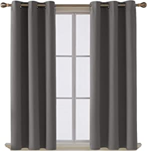 Deconovo Room Darkening Thermal Insulated Blackout Grommet Window Curtain for Living Room, Light Grey,42x63-inch,1 Panel