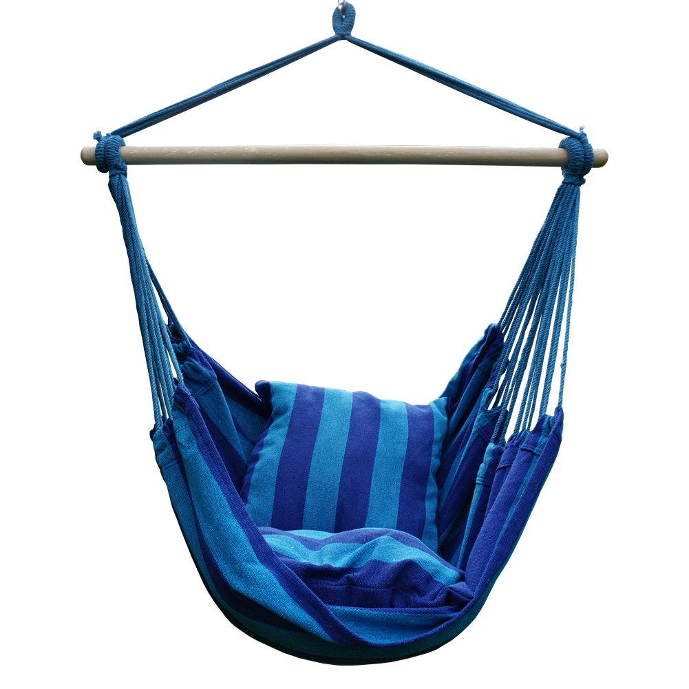 Blissun Hanging Hammock Chair, Hanging Swing Chair with Two Cushions, 34 Inch Wide Seat (Seaside Stripe)