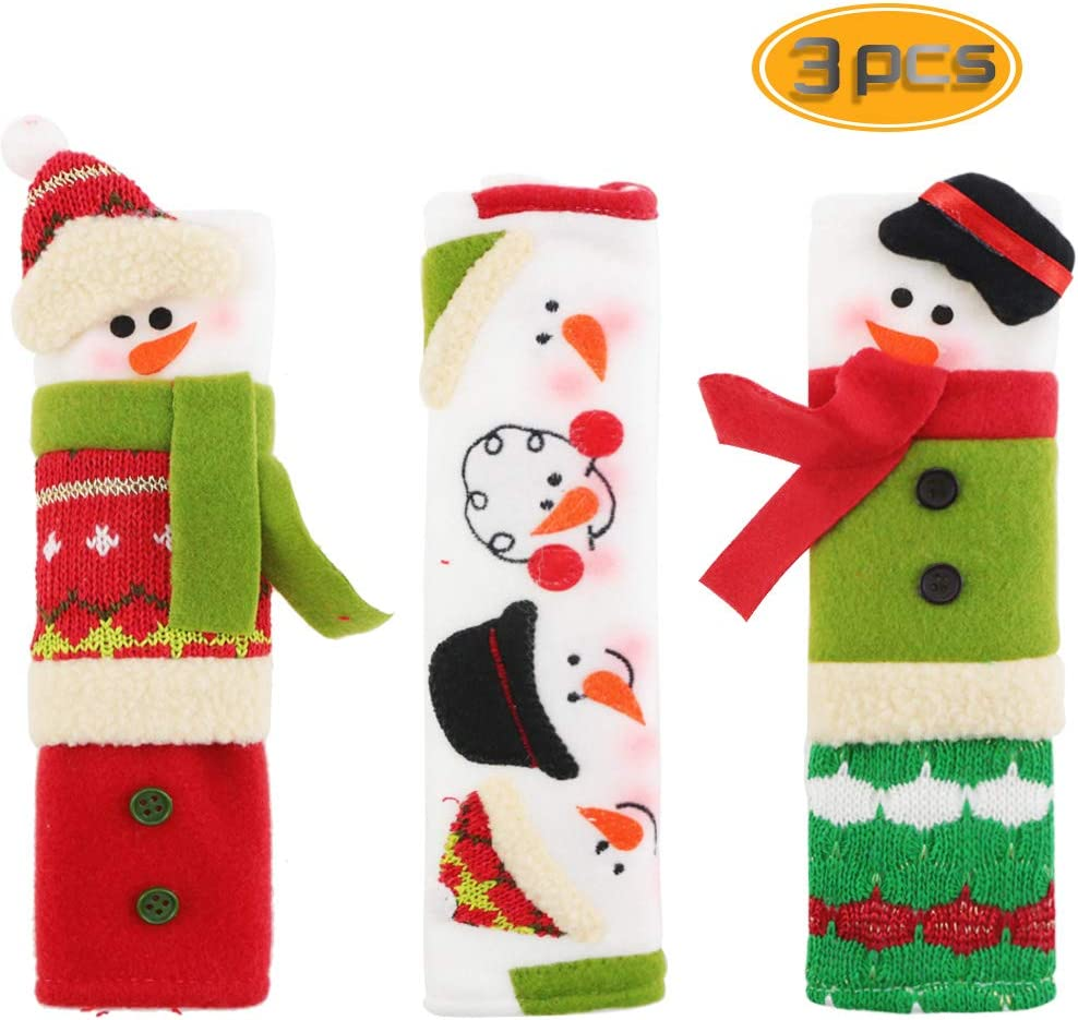 BeautyMood Snowman Refrigerator Door Handle Covers Set, Adorable Snowman Kitchen Appliance Handle Covers Fridge Door Covers Christmas Decoration - Set of 3 Design Protective Kitchen Appliance Covers.