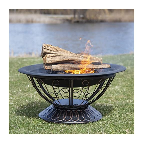CobraCo FB8001 Aegean Steel Fire Pit - Steel fire pit is easy to assemble Elevated design for better viewing Fire bowl has high-temp black finish - patio, outdoor-decor, fire-pits-outdoor-fireplaces - 61FIMe4XE%2BL. SS570  -