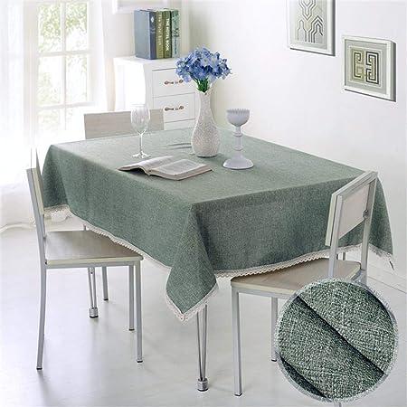 Ommda Moderno Mantel Antimanchas Rectangular Mantel Lavable con Borde de Encaje para Diseño de Comedor Jardin Cocina 60x90cm Verde Claro: Amazon.es: Hogar