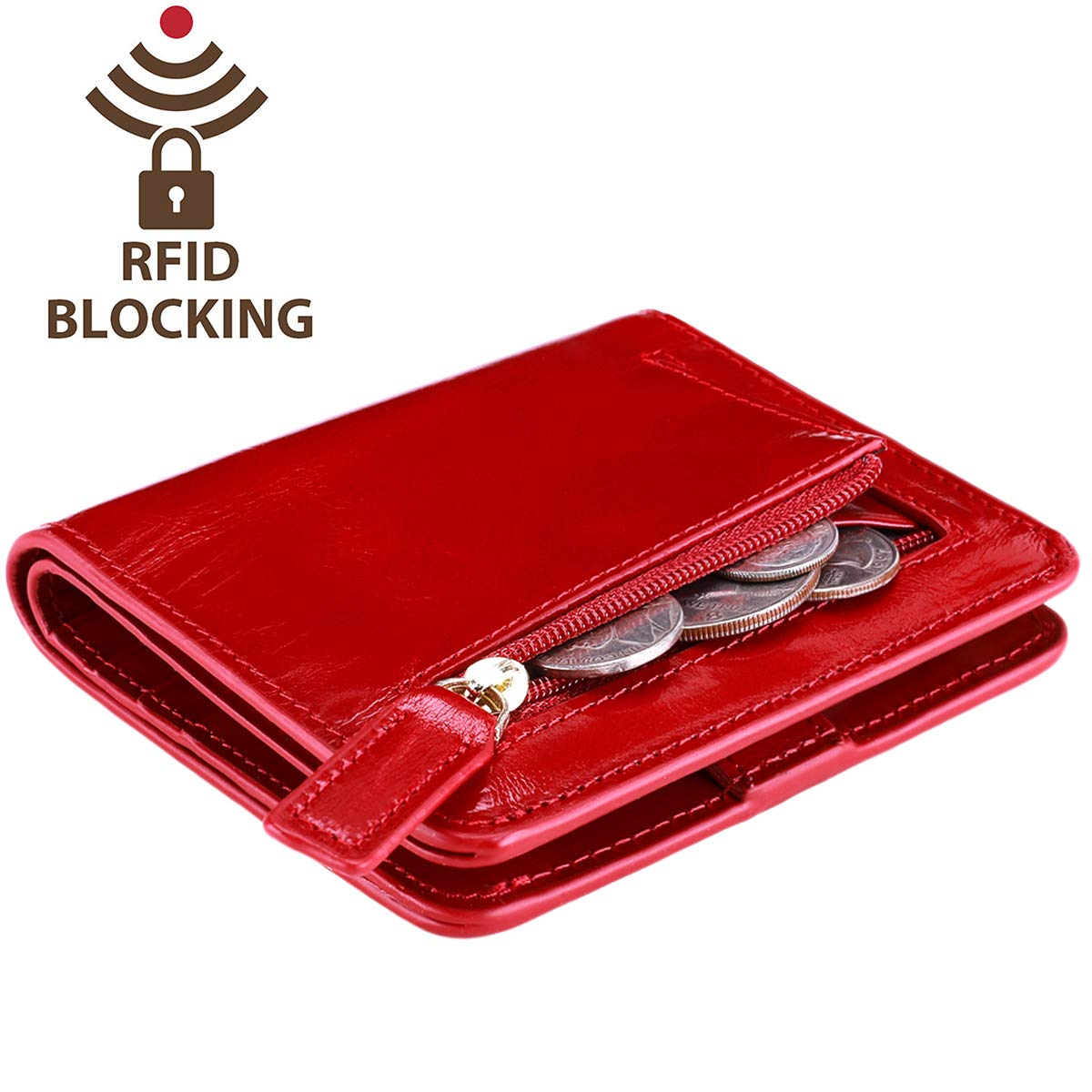 Itslife Women's Rfid Blocking Small Compact Bifold Leather Pocket Wallet Ladies Mini Purse with id Window (Waxed Red)
