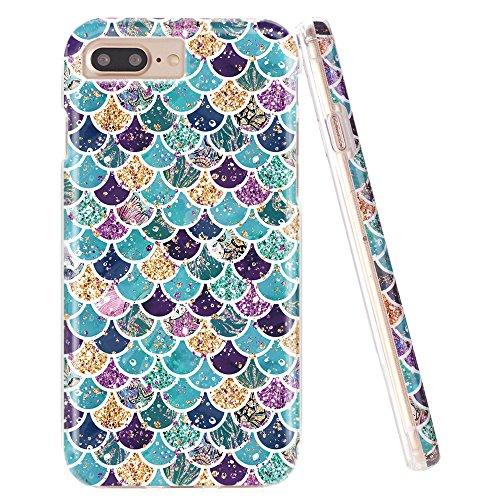 DOUJIAZ iPhone 7 Plus Case,iPhone 8 Plus Case,Flashing Mermaid Scale Pattern Hybrid Hard Back Soft TPU Raised Edge Shock Absorption Protective Case for iPhone 7 Plus/8 Plus