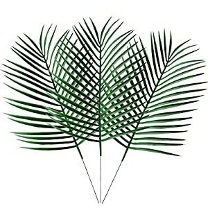 "Keebgyy 9Pcs/19.5"" Artificial Palm Tree Faux Leaves Green Plants Greenery for Flowers Arrangement Wedding, Room, Party, Garden, Office Decoration 106"