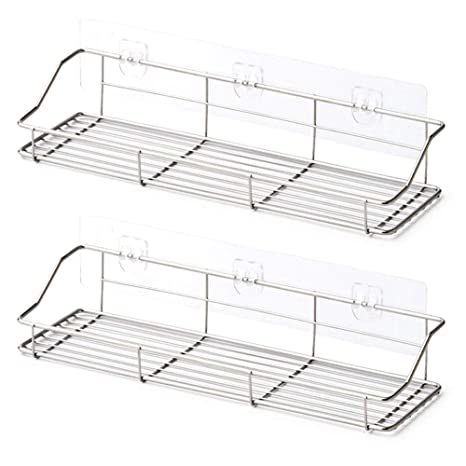EZOWare Adhesive Bathroom Kitchen Shelf, 2-Pack Stainless Steel Shower  Caddy Shelves, No Drilling Stick on Mount Storage Organizer Rack - 13.4 x  4.1 x ...