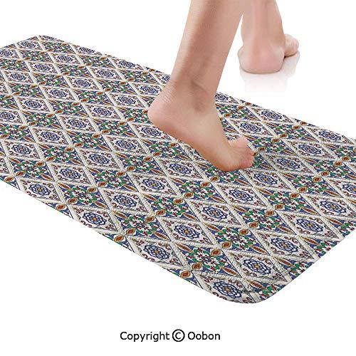 Geometric Rug Runner,Azulejo Tile Art with Floral Elements and Geometric Stripes Vibrant Color Scheme,Plush Door Carpet Floor Kitchen Decor Mat with Non Slip Backing,71 X 24 Inches,Multicolor Dallas Cowboys Team Carpet Tiles