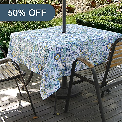 Lamberia Outdoor Tablecloth with Umbrella Hole, Water and Stain Resistant, Vinyl Fabric Umbrella Tablecloth for Rectangle Tables Seats 6 to 8 People (60