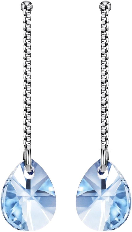 Yishi Pendientes Plata Gota de Agua Cristal Azul Joya Original Regalo Mujer Chica con Cristal de Swarovski